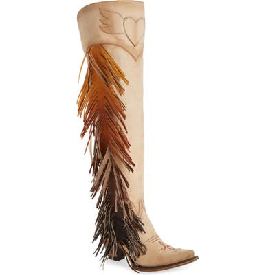Lane Boots X Junk Gypsy Fringe Over The Knee Western Boot, Ivory