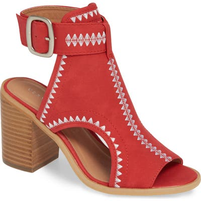 Very Volatile Yankee Embroidered Shield Sandal, Red