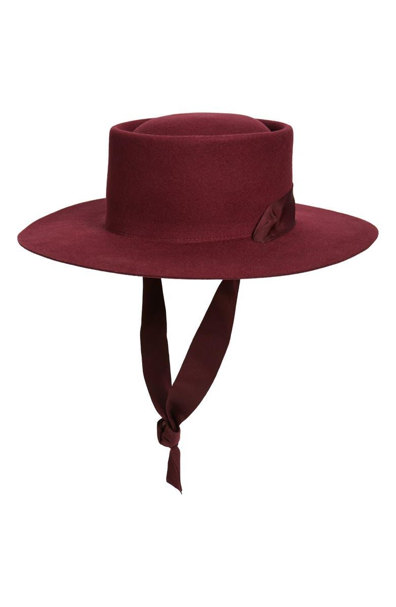 NOAKE Jordan Wool Boater Hat, Main, color, RED