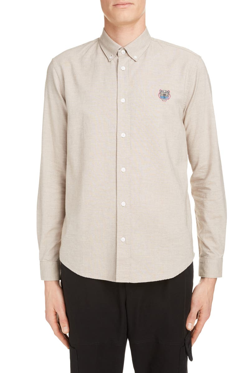 KENZO Slim Fit Tiger Crest Button-Down Cotton Shirt, Main, color, PALE CAMEL