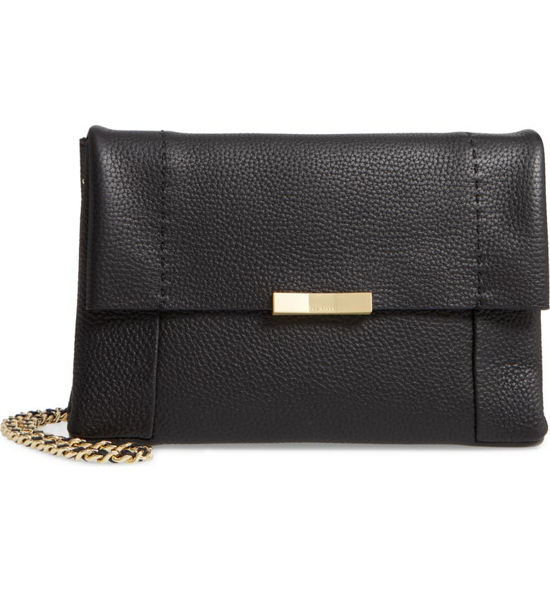 TED BAKER LONDON Clarria Leather Crossbody Bag, Main, color, 001