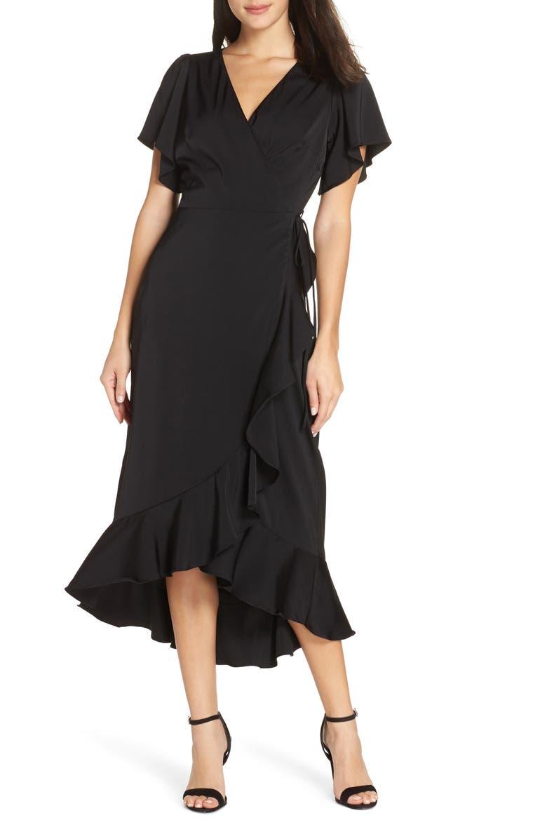 CHELSEA28 Midi Ruffle Wrap Dress, Main, color, 001
