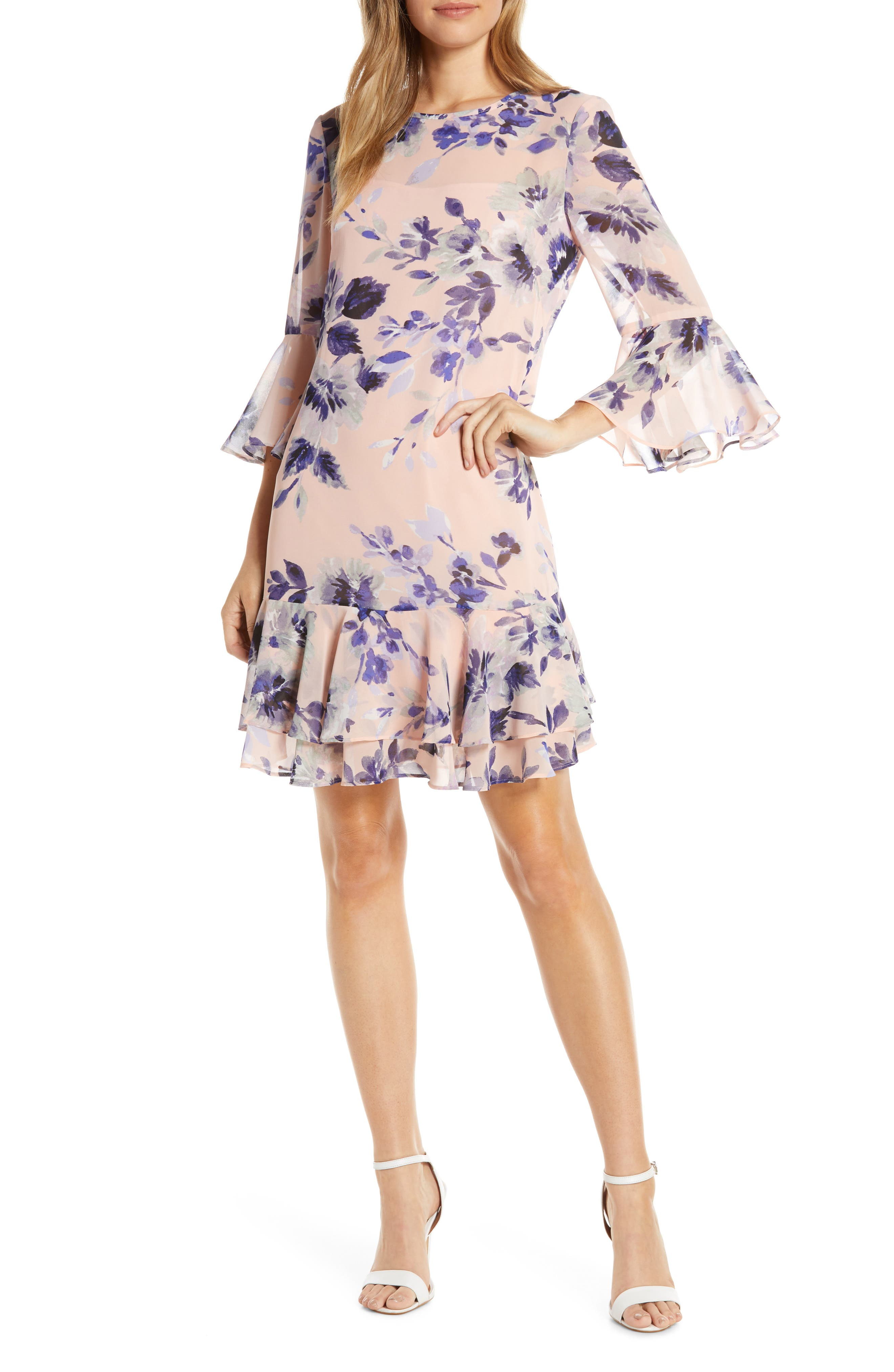 1920s Day Dresses, Tea Dresses, Mature Dresses with Sleeves Womens Eliza J Floral Chiffon Flounce Dress Size 10 - Pink $100.80 AT vintagedancer.com
