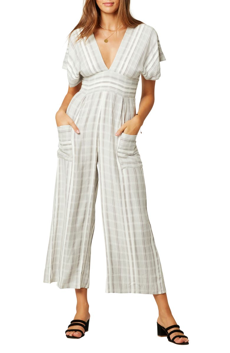 L SPACE Doheny Cover-Up Jumpsuit, Main, color, PEBBLE PEACH STRIPE