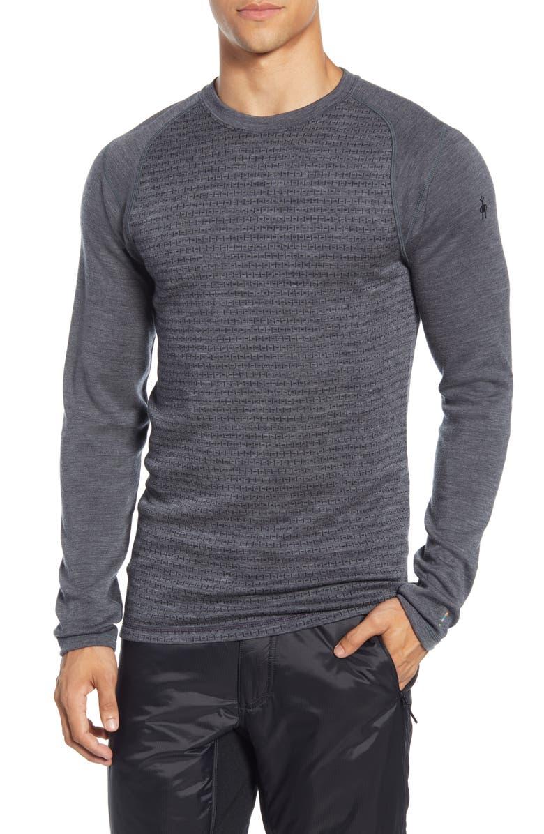 SMARTWOOL Merino 250 Wool Long Sleeve T-Shirt, Main, color, MEDIUM GREY TICK STITCH