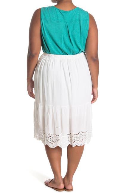 Image of 14TH PLACE Midi Eyelet Skirt