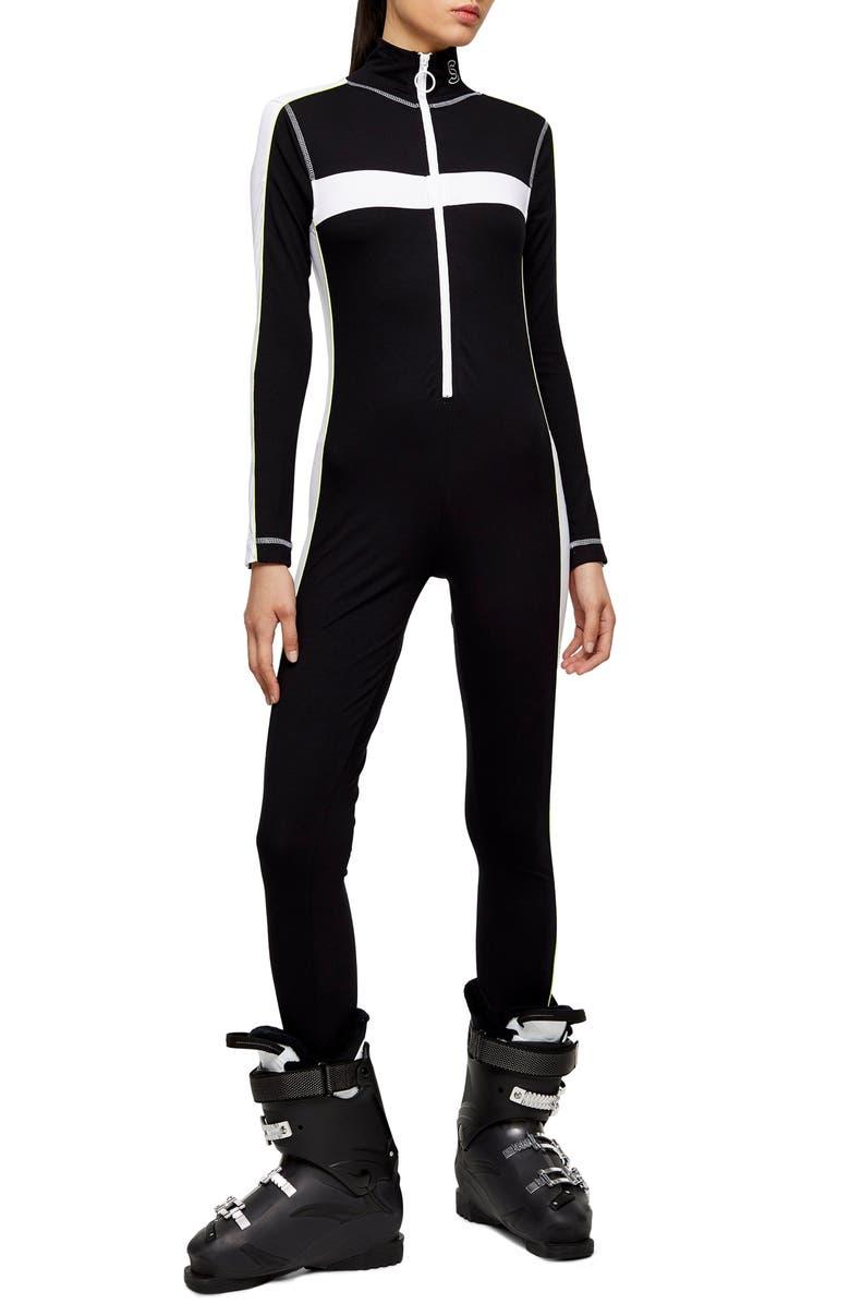 TOPSHOP SNO Ski Jumpsuit, Main, color, BLACK MULTI