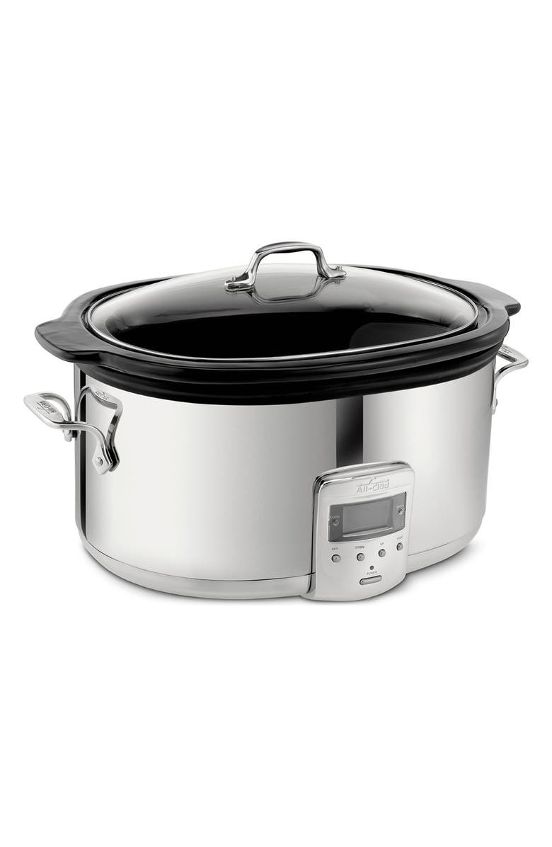 ALL-CLAD 6 1/2-Quart Slow Cooker with Black Ceramic Insert, Main, color, STAINLESS STEEL