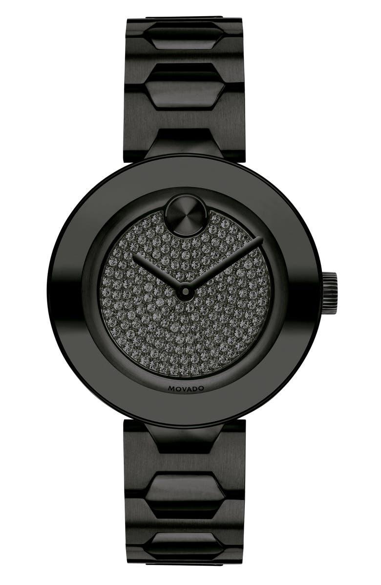 MOVADO Bold Pavé T-Bar Bracelet Watch, 32mm, Main, color, 005