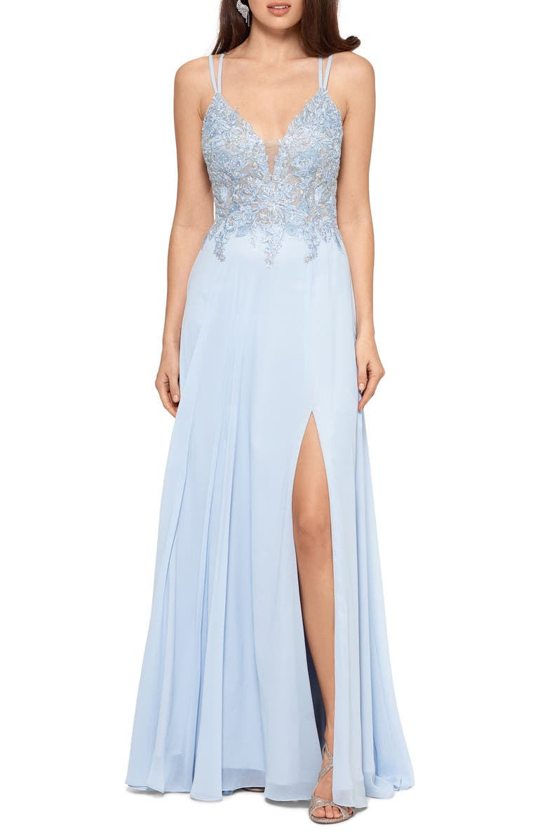 XSCAPE Appliqué Bodice Strappy Chiffon Gown, Main, color, LIGHT BLUE SILVER