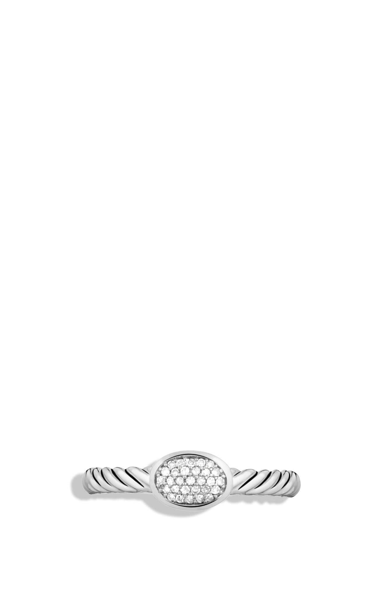 ,                             Petite Pavé Oval Ring with Diamonds,                             Alternate thumbnail 3, color,                             DIAMOND