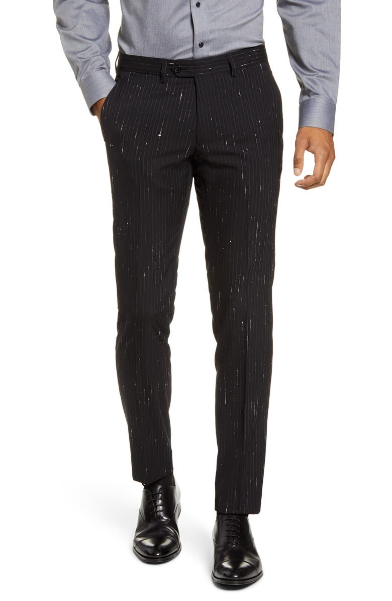 CHRISTOPHER BATES Slim Fit Metallic Shooting Stripe Wool Blend Trousers, Main, color, 001