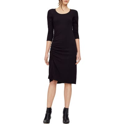 Michael Stars Tina Ruched Stretch Cotton Body-Con Dress, Black