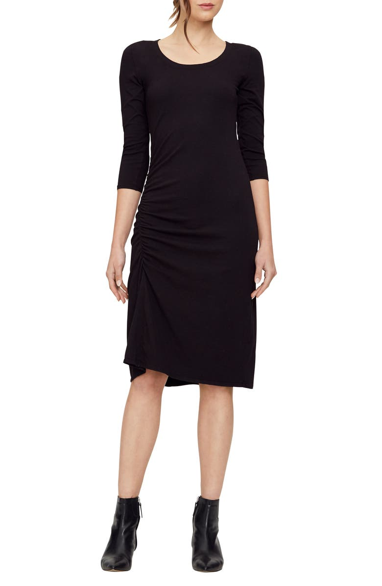 MICHAEL STARS Tina Ruched Stretch Cotton Body-Con Dress, Main, color, BLACK