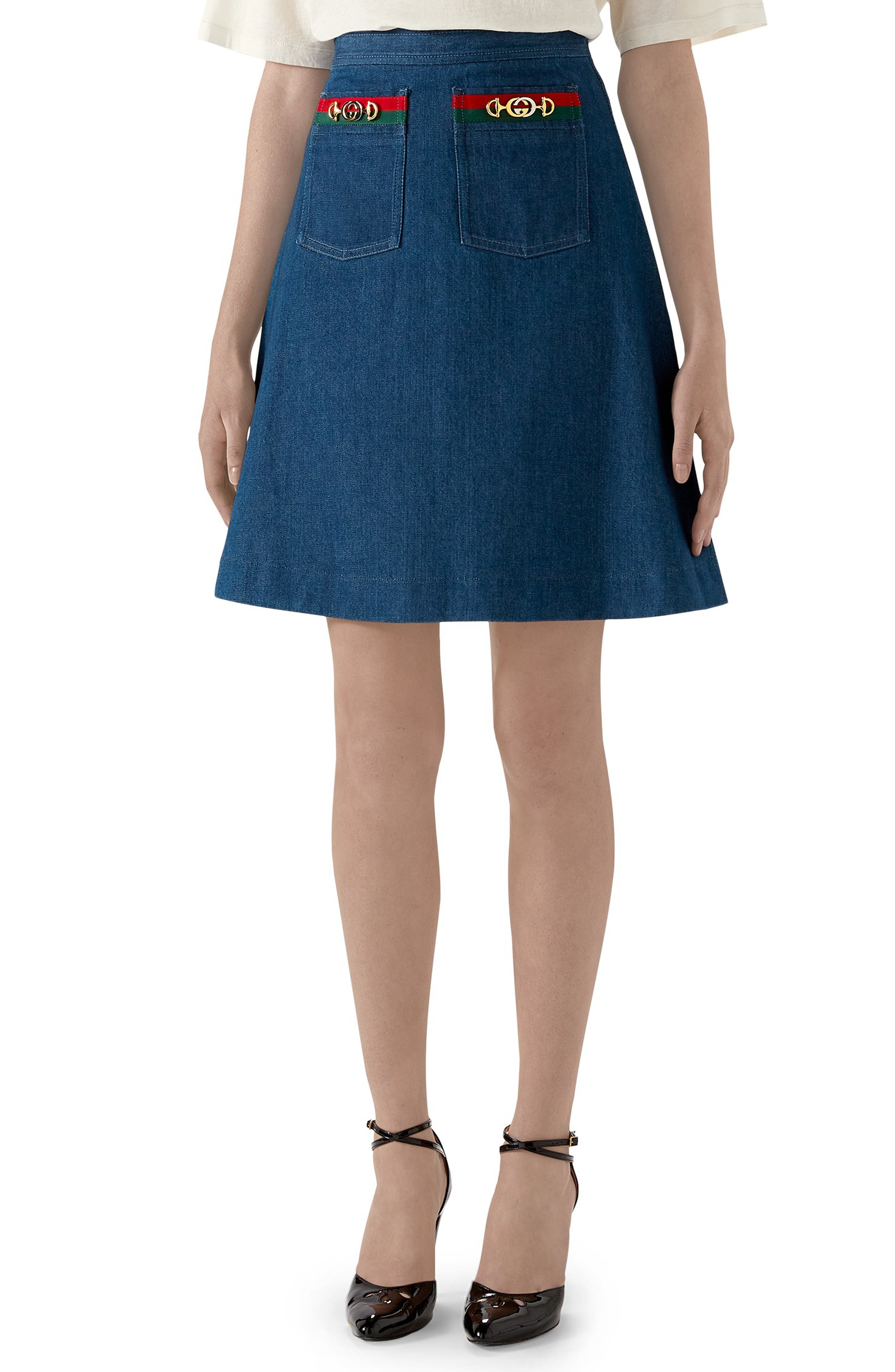 Gucci Skirts Web Ribbon Trim Denim Miniskirt