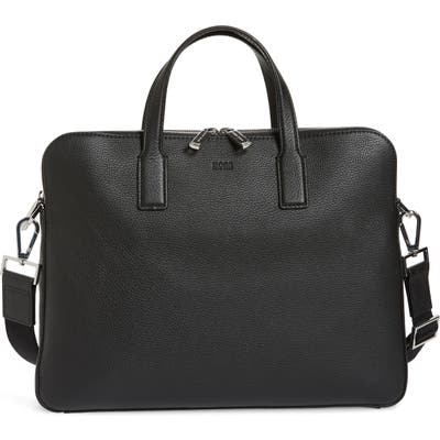 Boss Crosstown Leather Document Case - Black