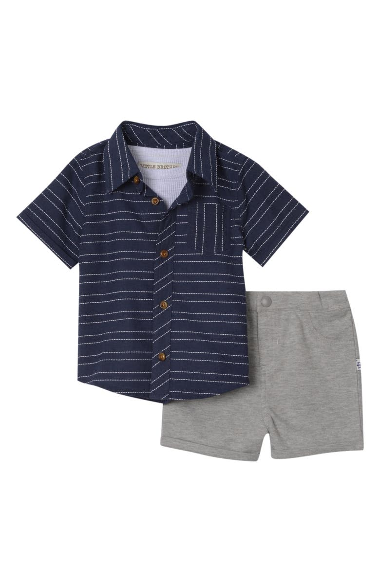 LITTLE BROTHER BY PIPPA & JULIE Stripe Shirt, Tank Top & Shorts Set, Main, color, NAVY