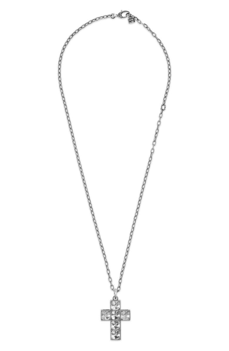 GUCCI G-Cube Stone Cross Necklace, Main, color, STERLING SILVER/ CRYSTAL