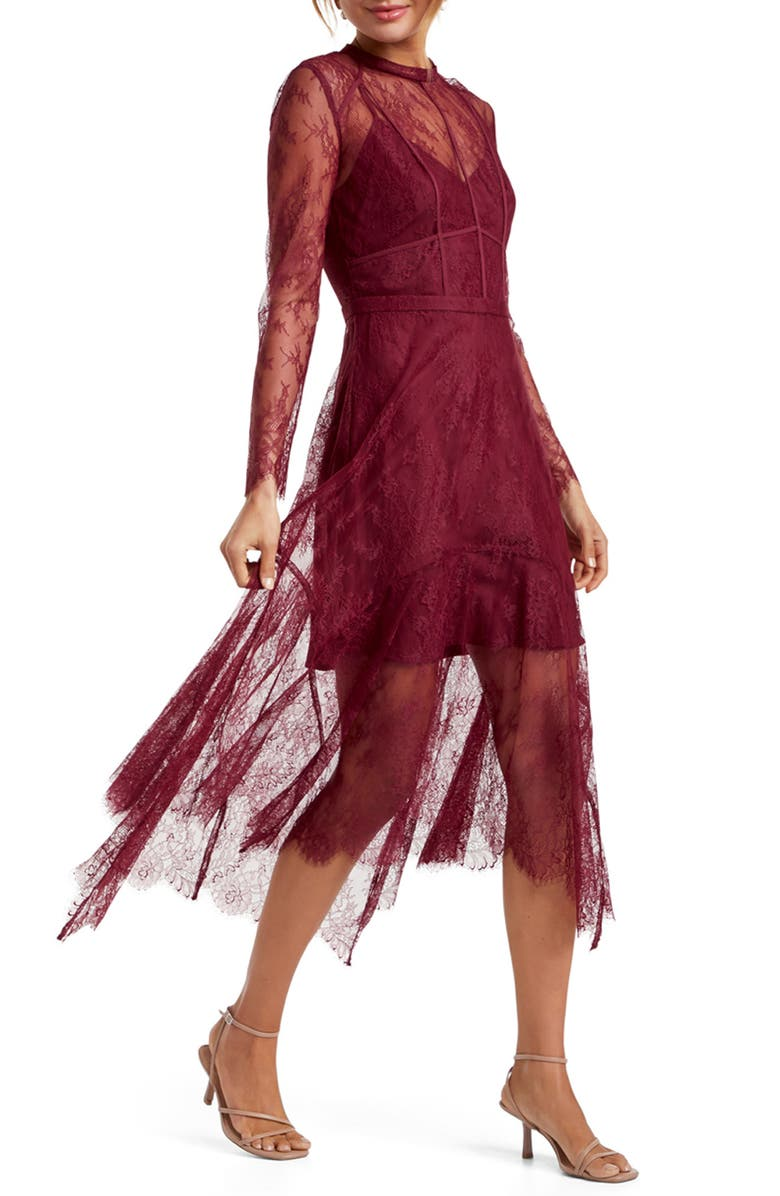 EVER NEW Chantilly Lace Long Sleeve Midi Dress, Main, color, 600
