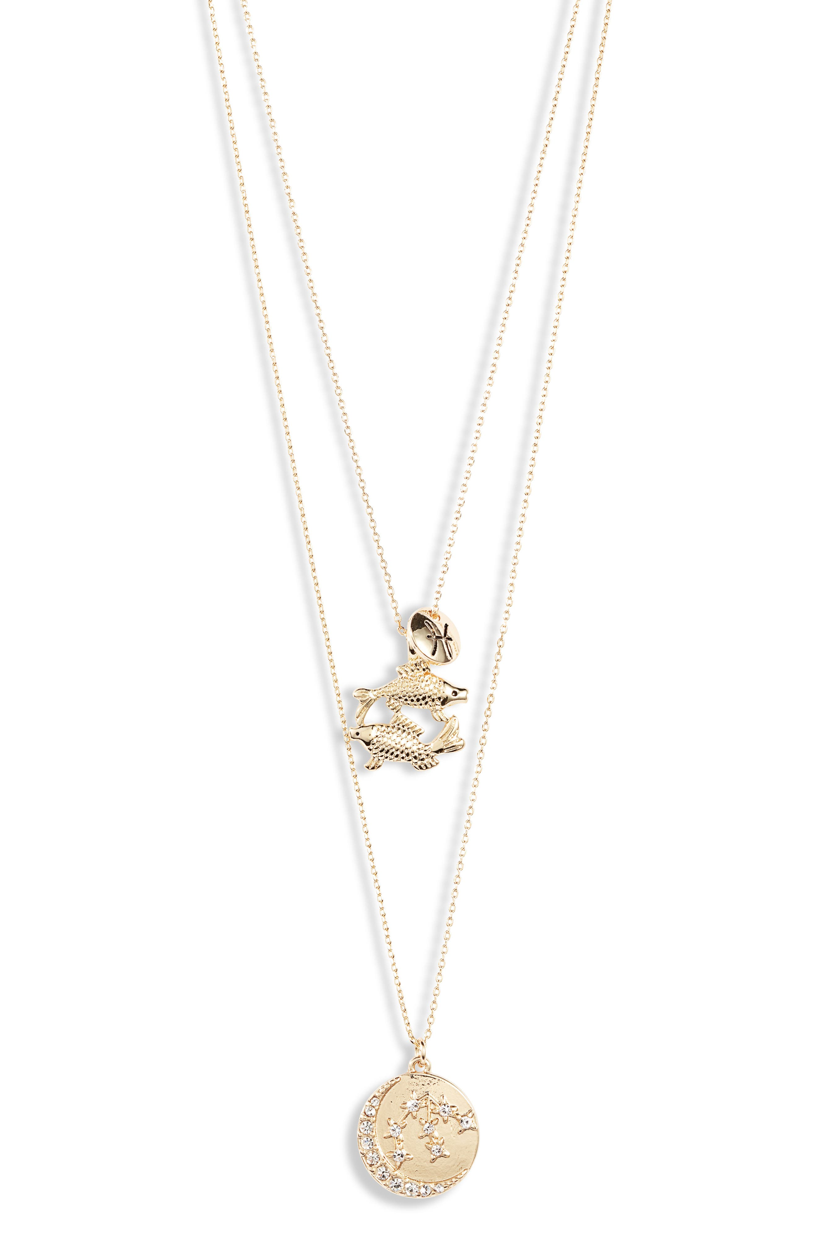 Pisces Astrological Charm Layered Necklace