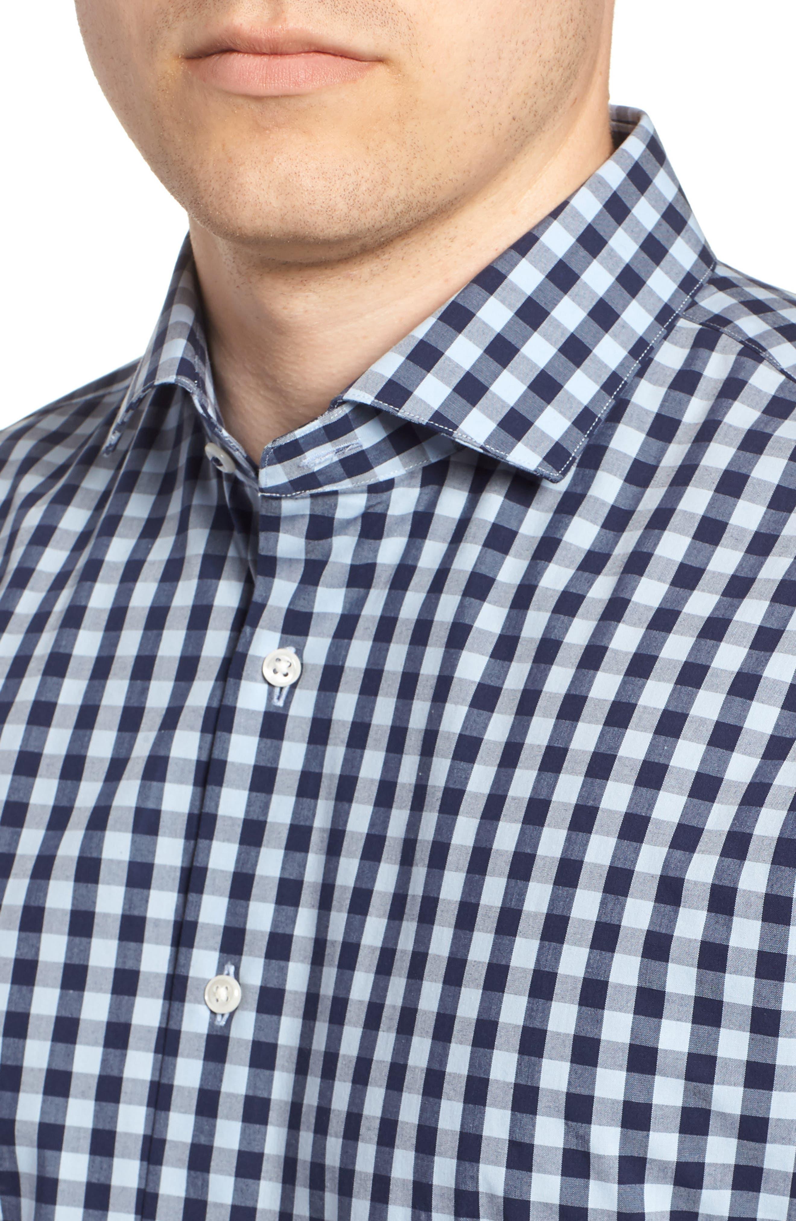 ,                             Tech-Smart Trim Fit Stretch Check Dress Shirt,                             Alternate thumbnail 22, color,                             415
