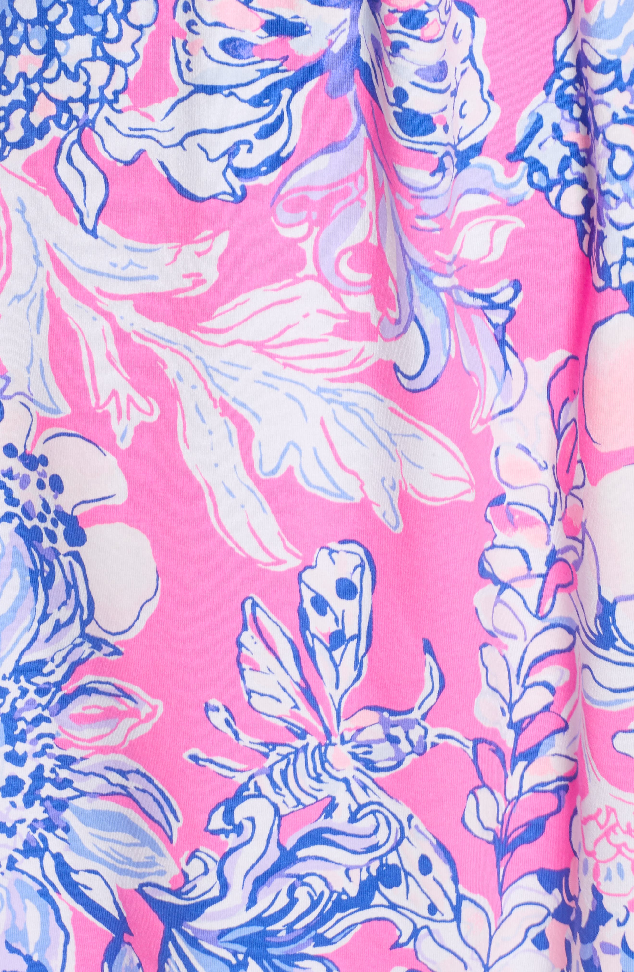,                             Lilly Pulizter<sup>®</sup> Winslow Print Surplice Dress,                             Alternate thumbnail 5, color,                             PINK TROPICS SUN DRENCHED