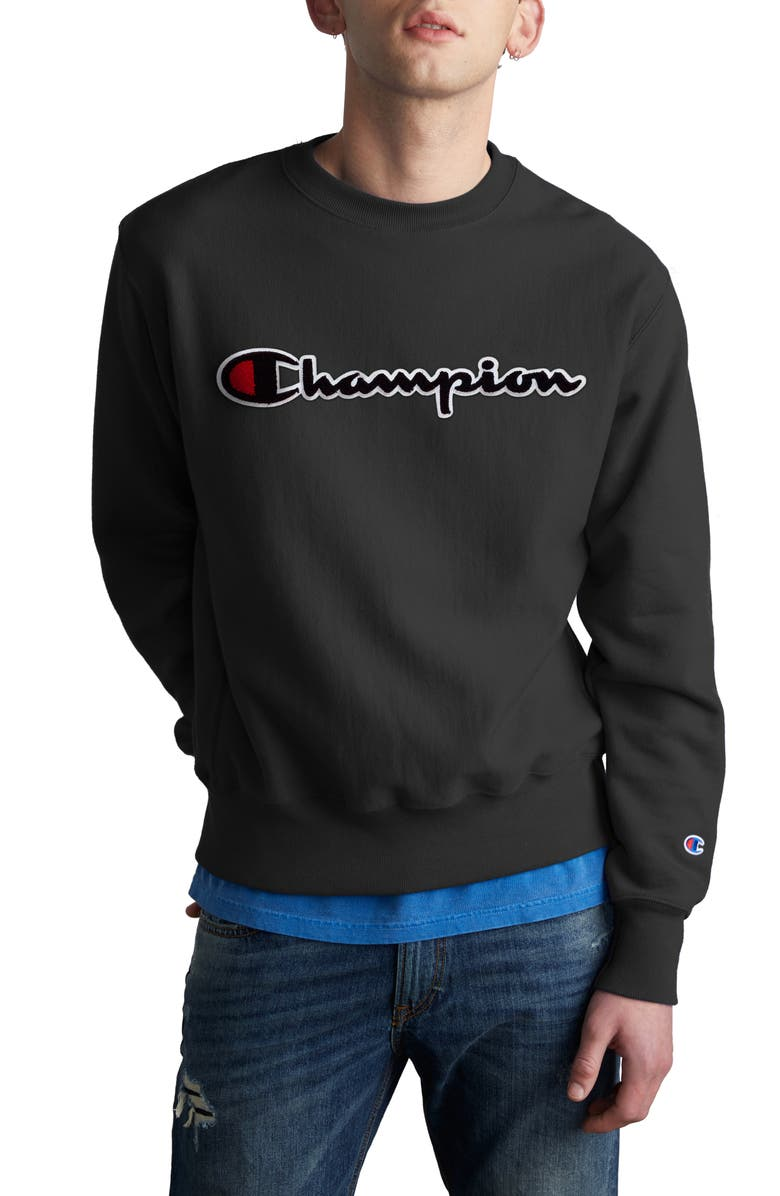 CHAMPION Chenille Logo Reverse Weave Sweatshirt, Main, color, 002