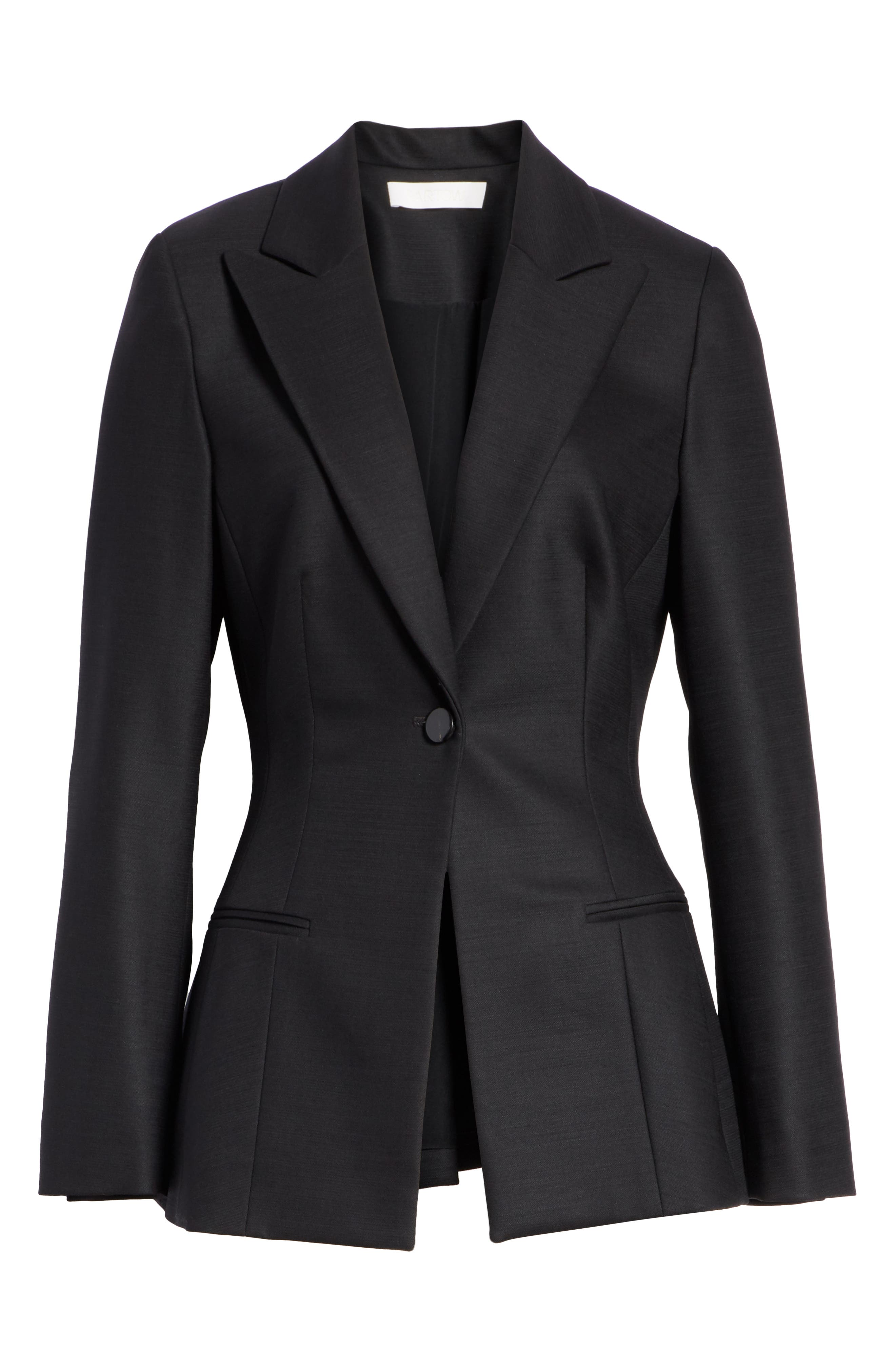,                             One-Button Stretch Wool Gabardine Jacket,                             Alternate thumbnail 7, color,                             BLACK
