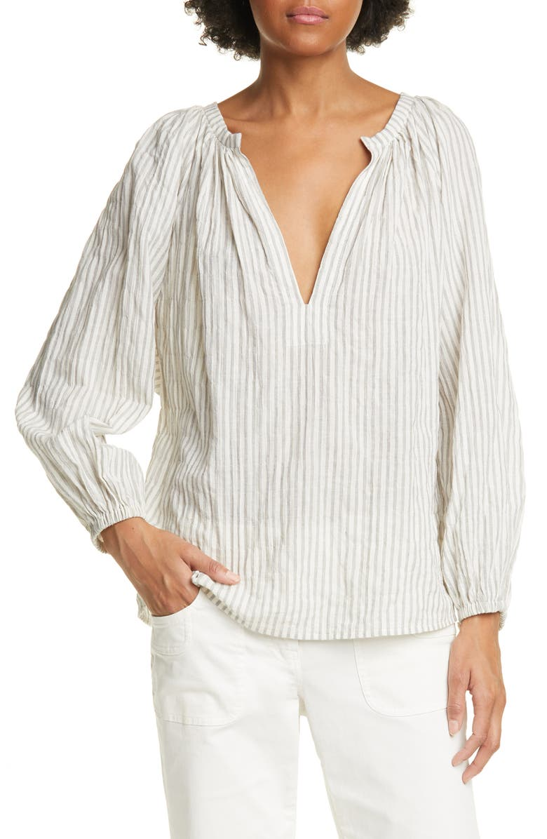 NILI LOTAN Brooke Stripe Cotton Blend Top, Main, color, 002