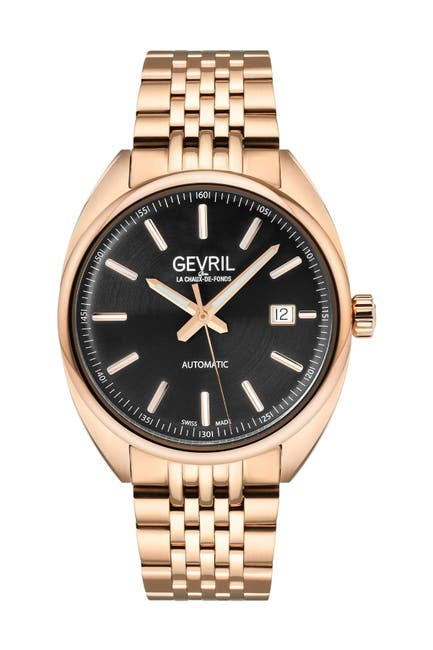 Image of Gevril Men's Five Points Black Dial Rose Gold Watch, 44.5 mm