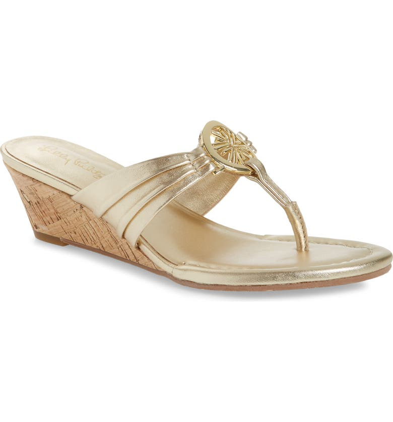 LILLY PULITZER<SUP>®</SUP> Rousseau Wedge Thong Sandal, Main, color, GOLD METALLIC
