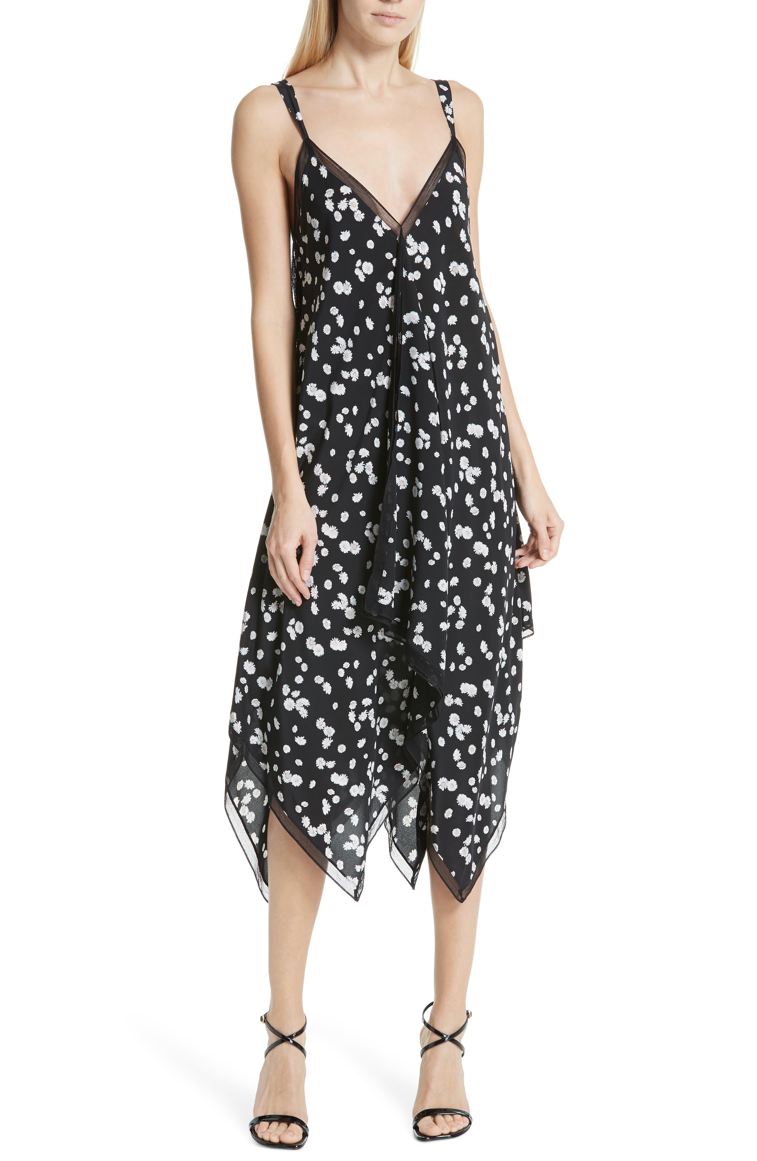 ,                             Spring Daisy Handkerchief Hem Dress,                             Main thumbnail 1, color,                             BLACK MULTI