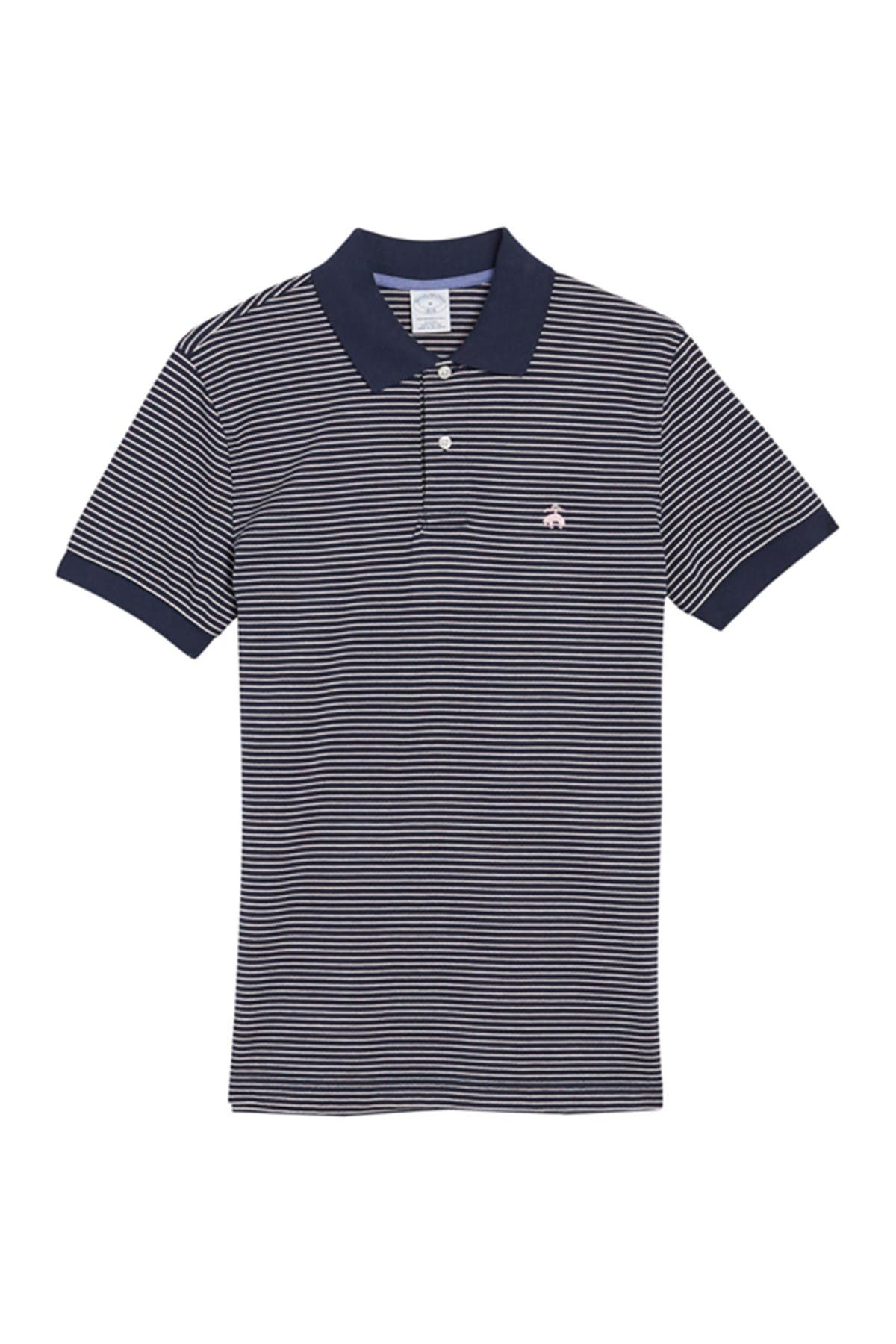 Brooks Brothers Pique Knit Stripe Print Polo
