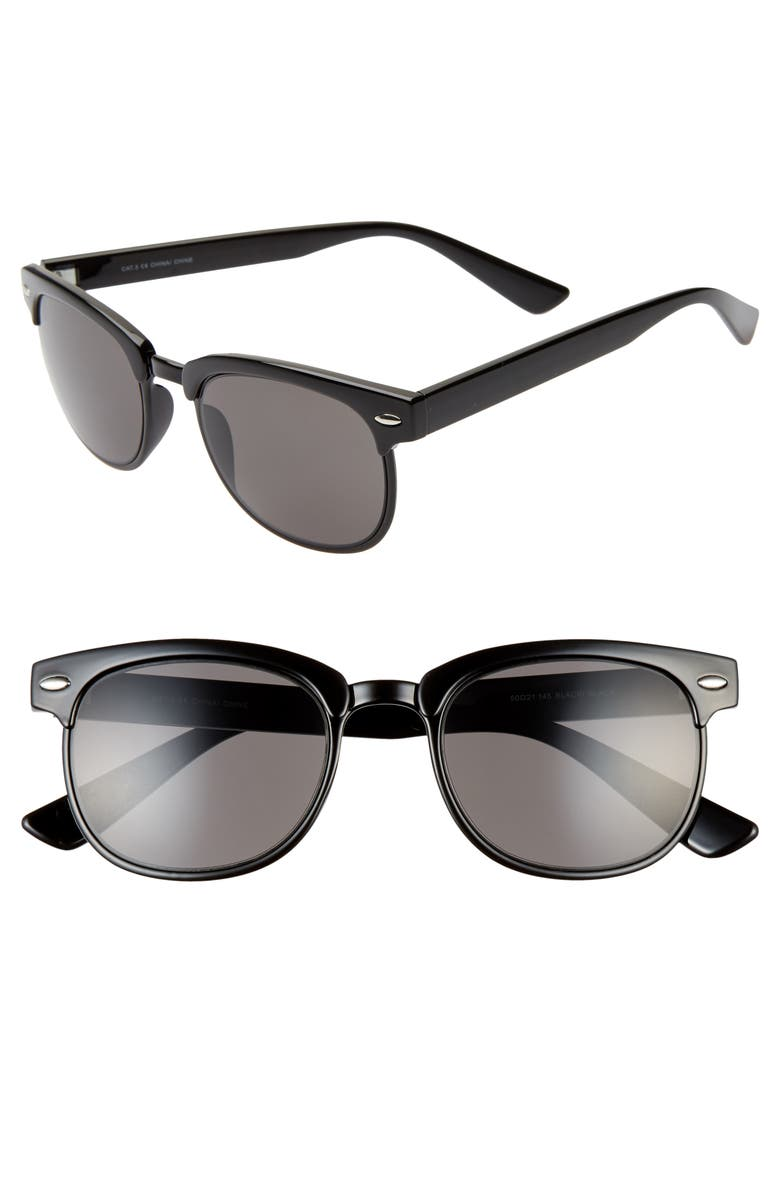 BP. Paco 50mm Sunglasses, Main, color, BLACK/ BLACK