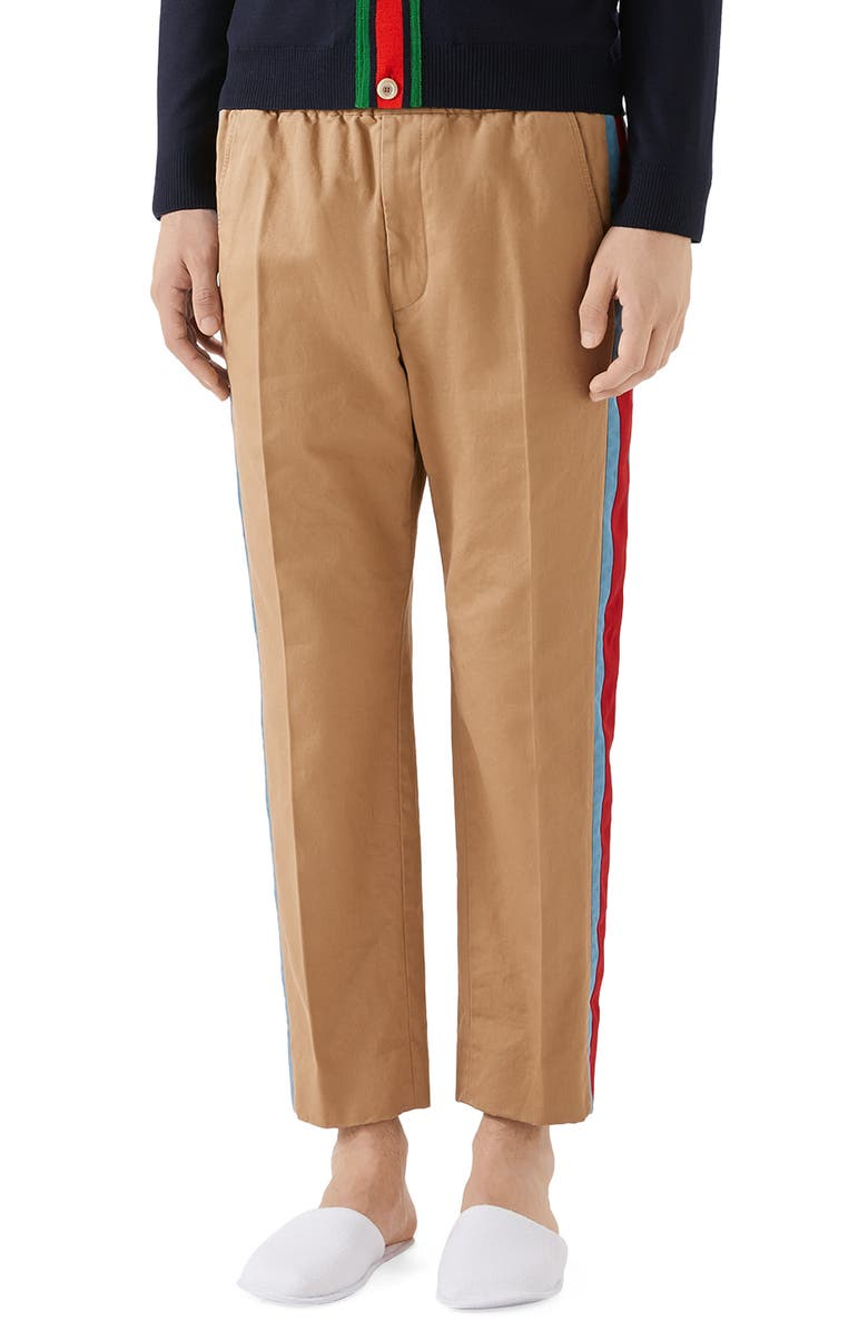 GUCCI Side Stripe Cotton Drill Pants, Main, color, SATURN/ MIX
