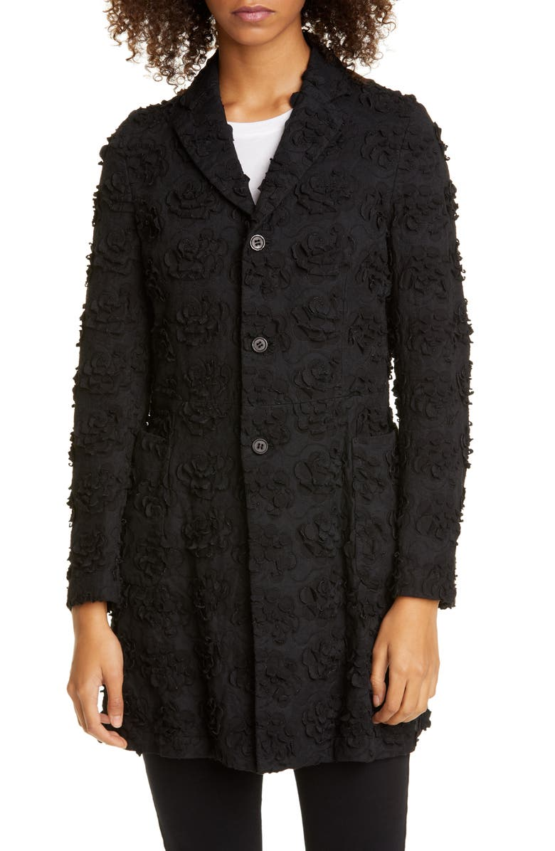 COMME DES GARÇONS Floral Embroidered Coat, Main, color, BLACK