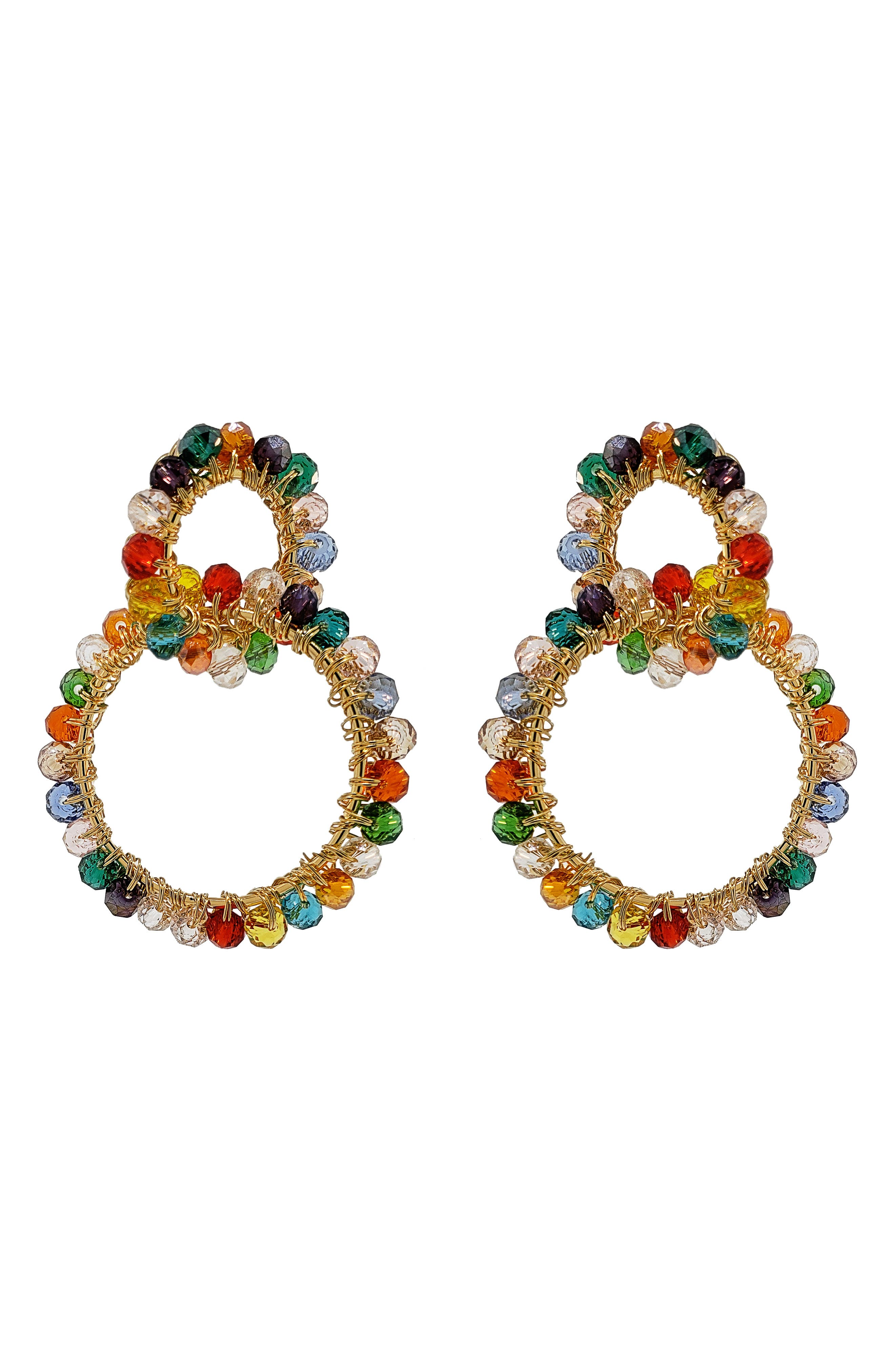 Beaded Crochet Link Drop Earrings