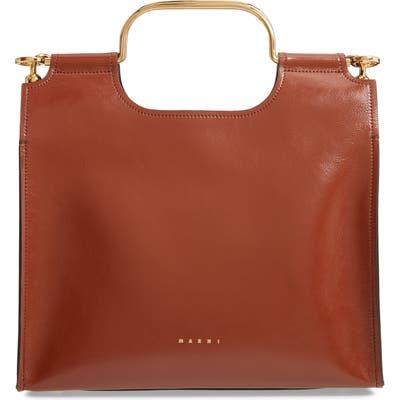 Marni Marcel Top Handle Leather Bag - Grey