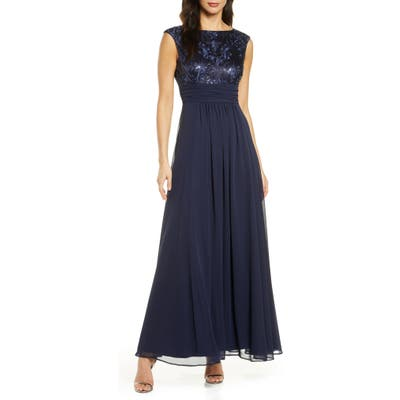 Eliza J Sequin Embroidered Chiffon Gown, Blue