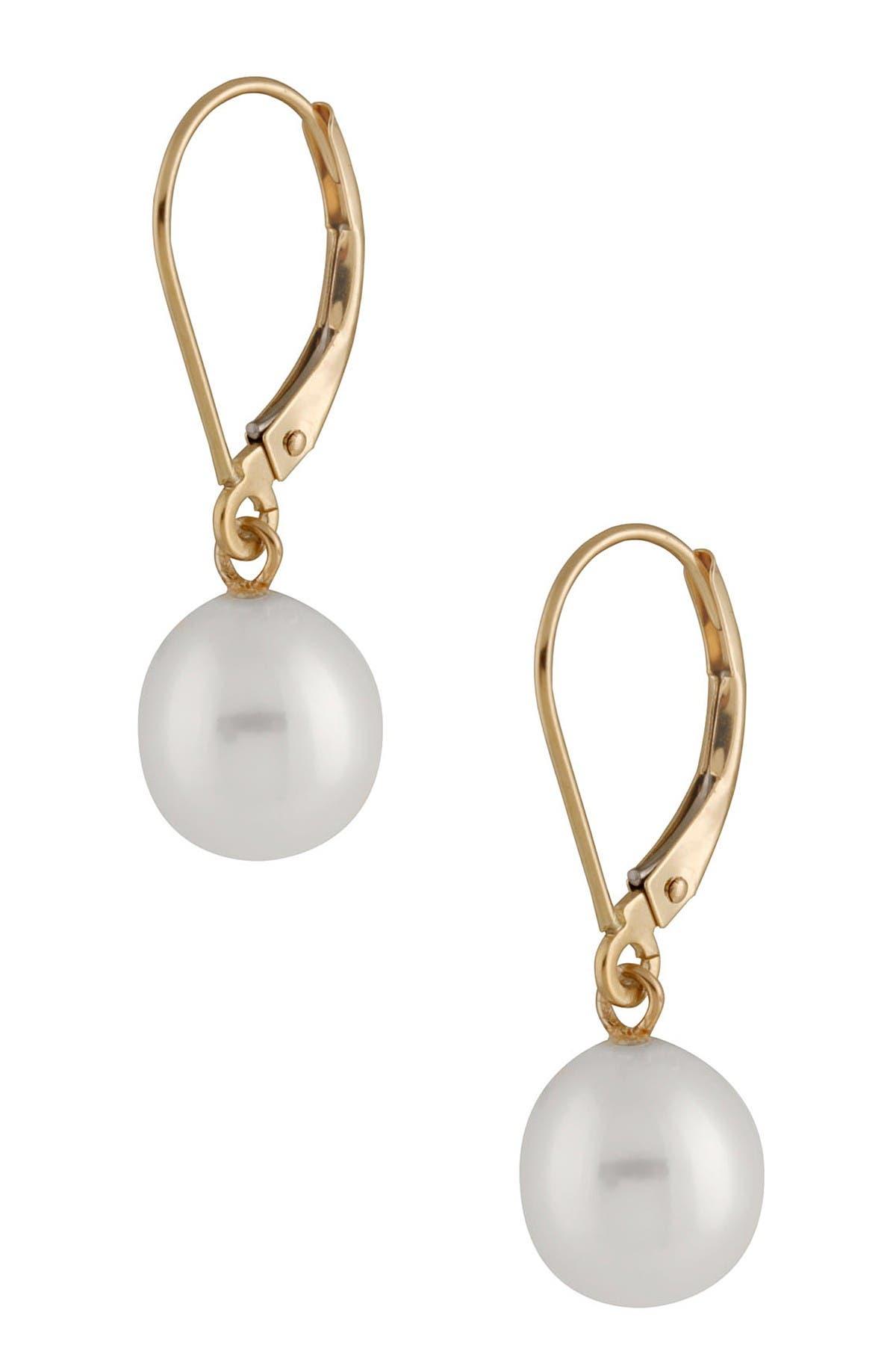 Image of Splendid Pearls 14K Gold 7-7.5mm White Freshwater Pearl Leverback Earrings