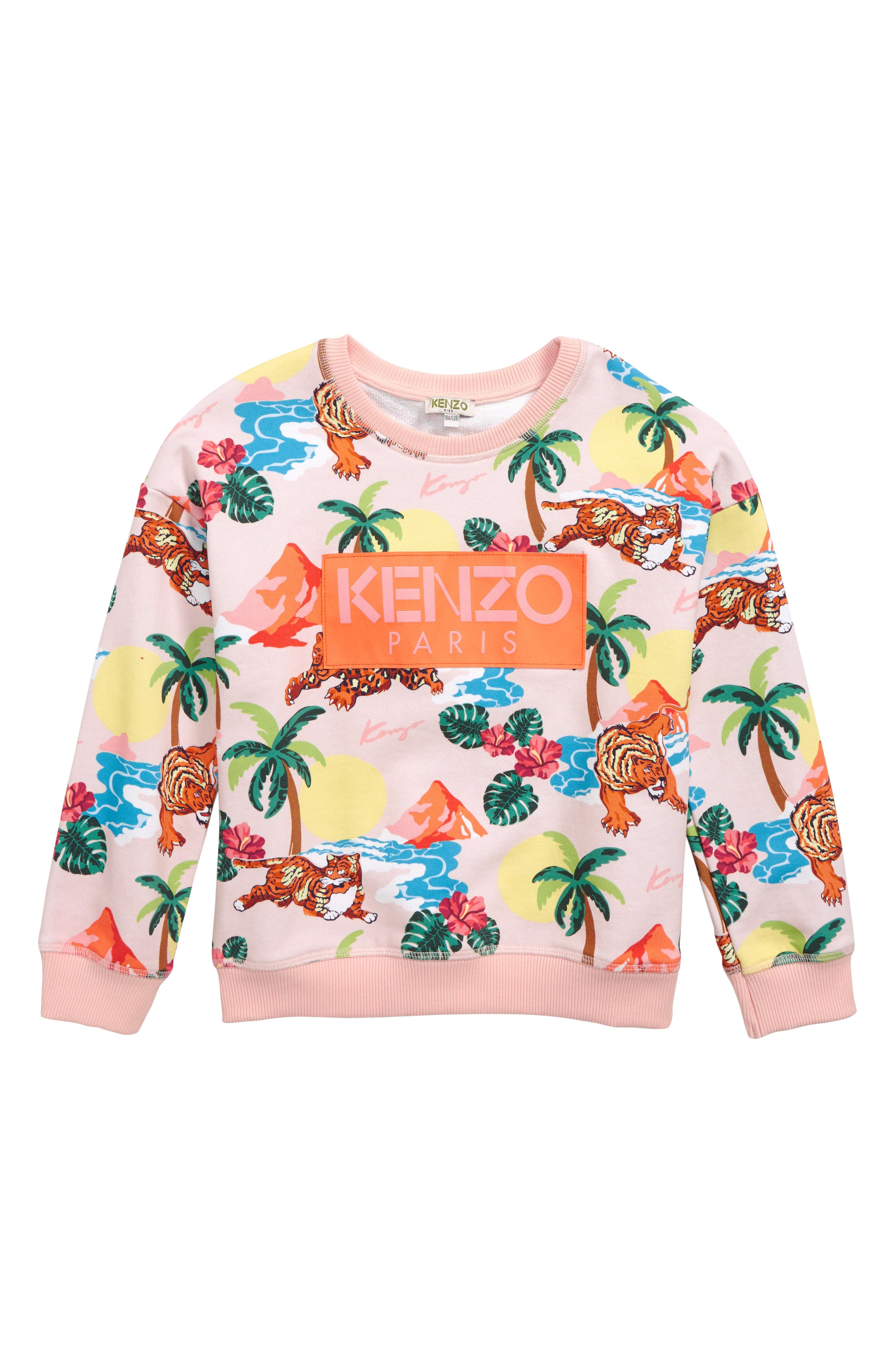 ,                             Tropical Print Sweatshirt,                             Main thumbnail 1, color,                             LIGHT PINK