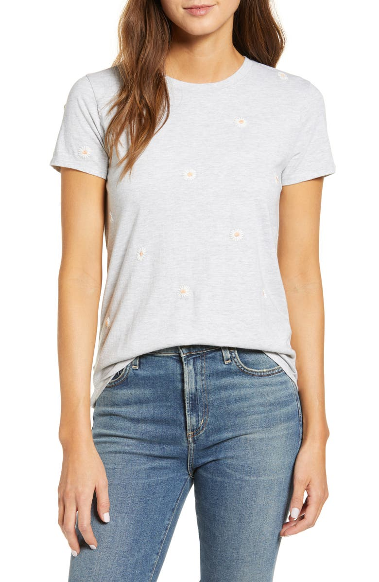 LUCKY BRAND Embroidered Daisy T-Shirt, Main, color, HEATHER GREY