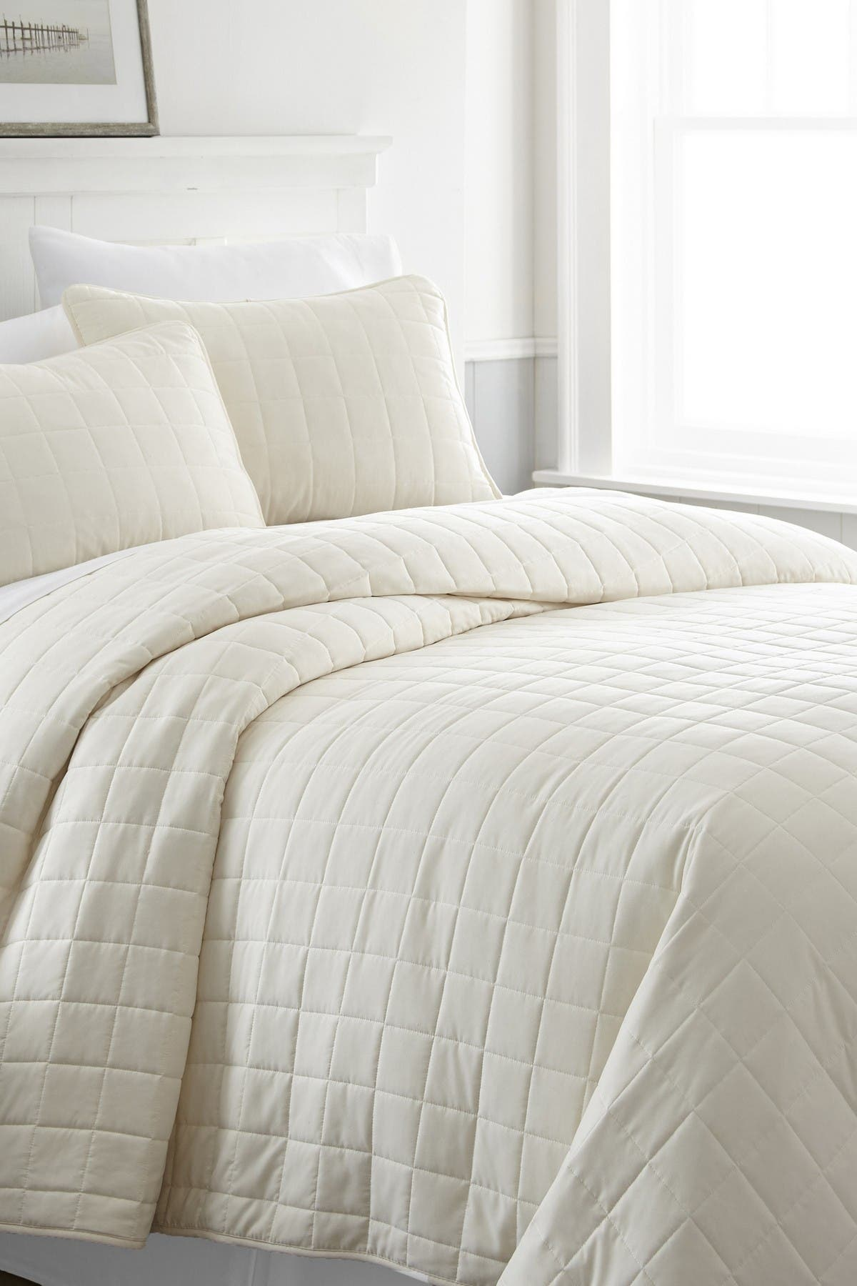 Ienjoy Home Home Spun Premium Ultra Soft Square Pattern Quilted King Coverlet Set Ivory Nordstrom Rack