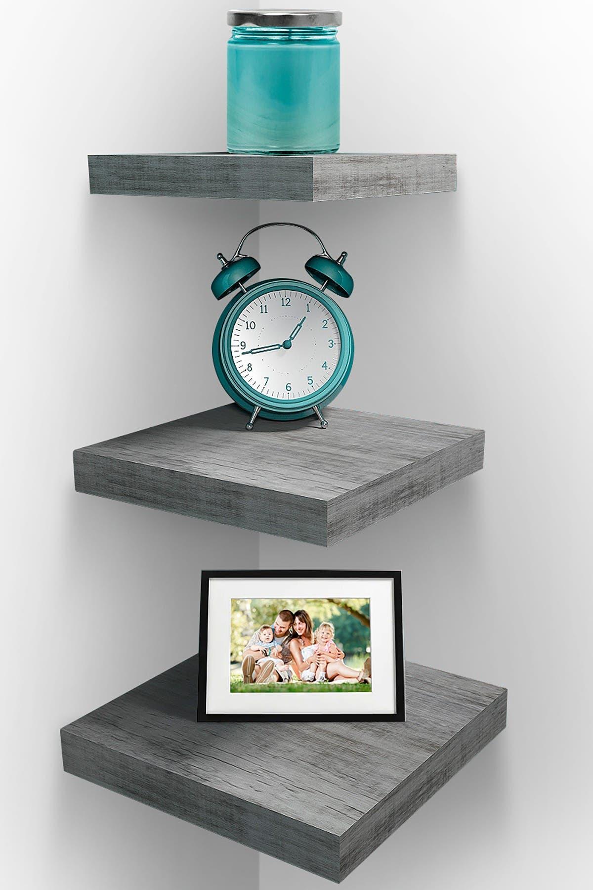 Image of Sorbus Floating Grey Shelf - Set of 3