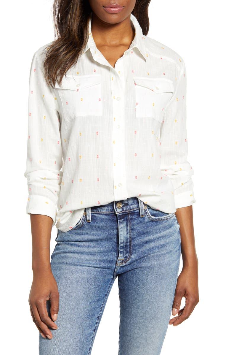 CASLON<SUP>®</SUP> Clip Dot Detail Button Down Shirt, Main, color, 100