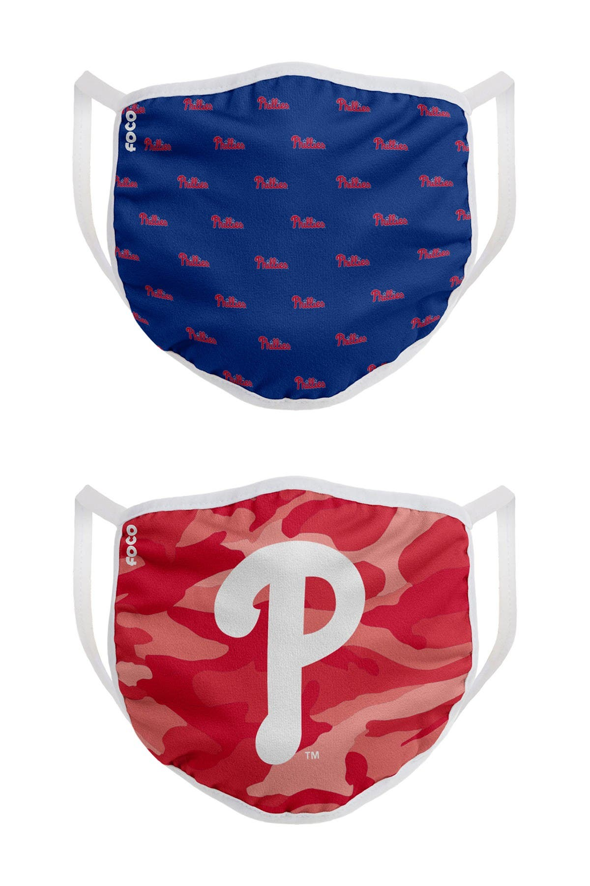 Image of FOCO MLB Philadelphia Phillies Clutch Printed Face Cover - Pack of 2