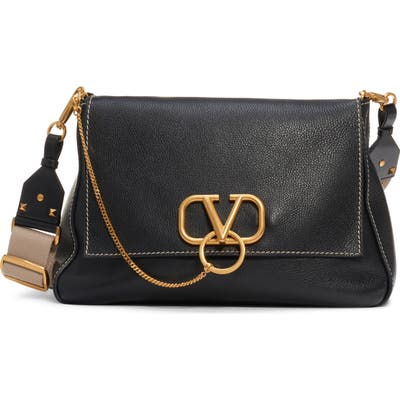 Valentino Garavani Large V-Ring Leather Shoulder Bag - Black