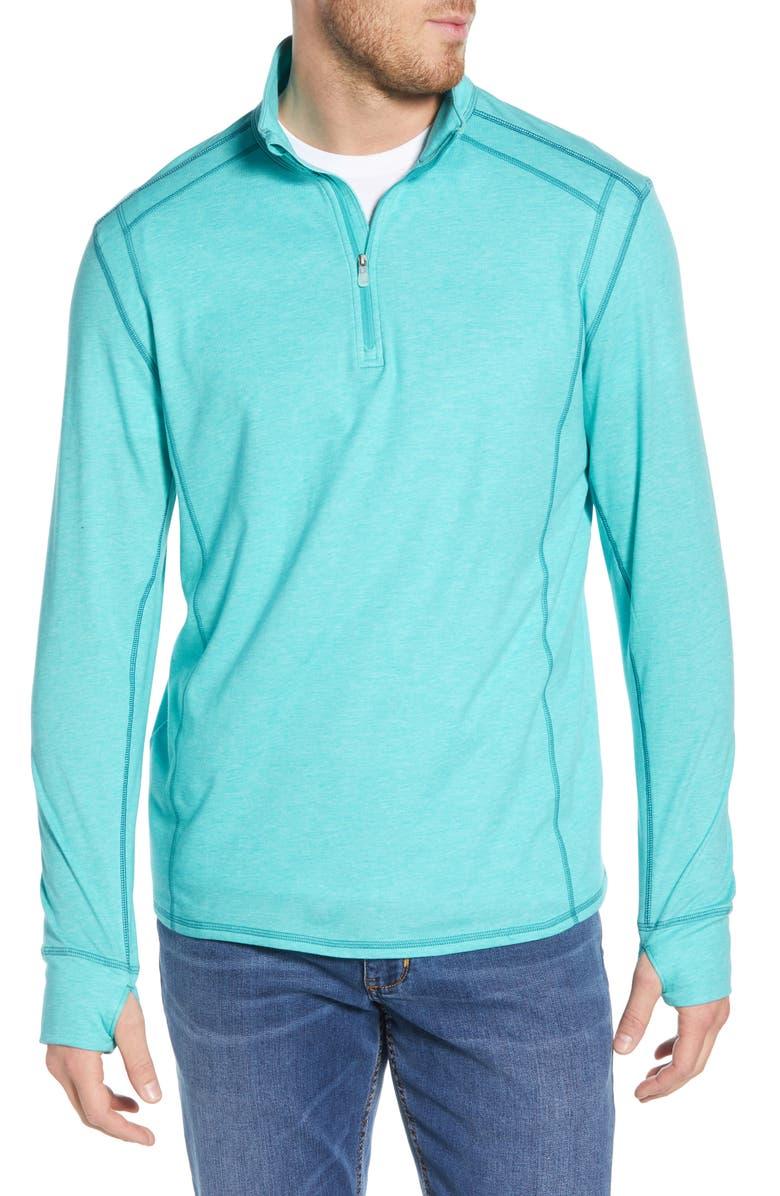 TOMMY BAHAMA Island Active Half-Zip Sweatshirt, Main, color, DOCKSIDE HEATHER