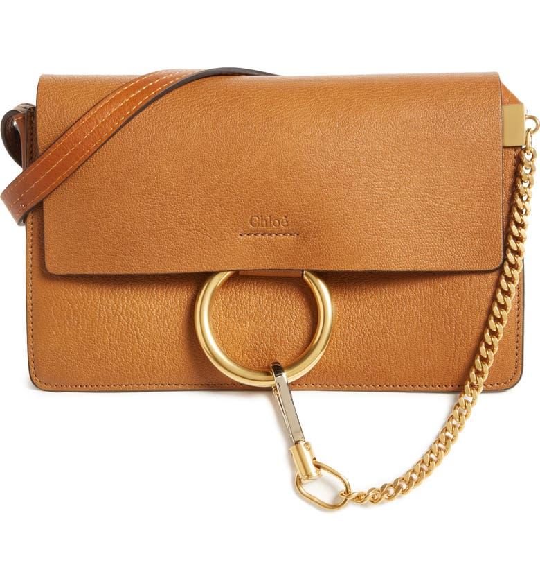 CHLOÉ Small Faye Goatskin Leather Crossbody Bag, Main, color, 233