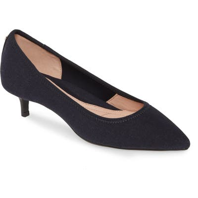 Taryn Rose Nicki Pointed Toe Kitten Heel Pump, Blue
